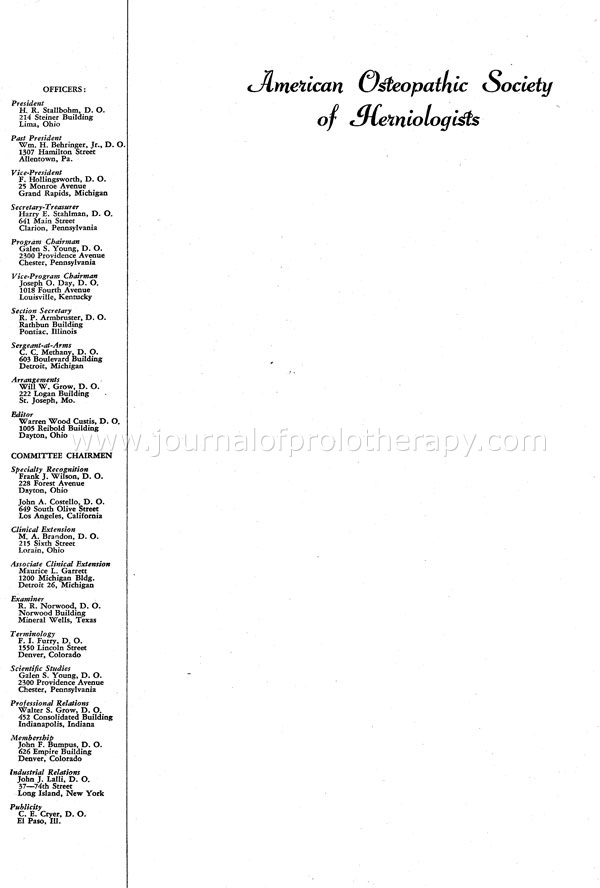 A history of the american college of osteopathic sclerotherapeutic board members listed on the letterhead of the american society of herniologists spiritdancerdesigns Gallery